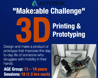 Makeable PrintLab and Autodesk Online Workshop for 13 to 18 years